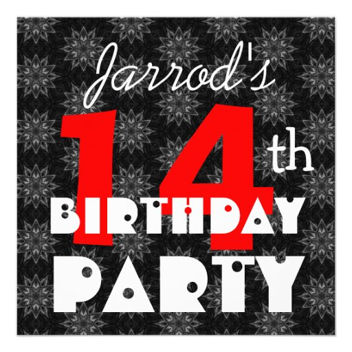 Modern Teen's 14th Birthday Red Black and White Custom Invite
