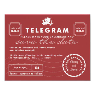 Modern Telegram Card Save the Date - Red