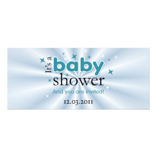 Modern Text Aqua Stars Funny Baby Shower Party Custom Announcements