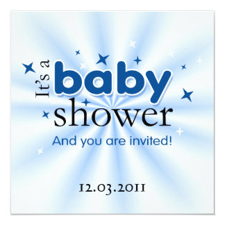 "Modern Text Blue Stars Funny Baby Shower Party 5.25"" Square Invitation Card"