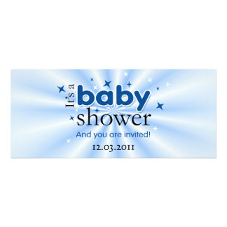 Modern Text Blue Stars Funny Baby Shower Party Invites
