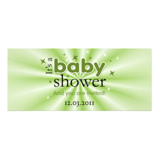 Modern Text Green Stars Funny Baby Shower Party Invitation