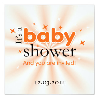 "Modern Text Orange Stars Funny Baby Shower Party 5.25"" Square Invitation Card"