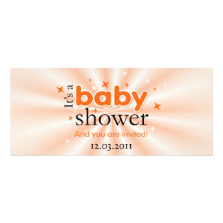 Modern Text Orange Stars Funny Baby Shower Party Invitation