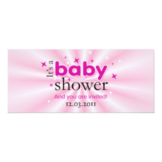"""Modern Text Pink Stars Funny Baby Shower Party 4"""" X 9.25"""" Invitation Card"""