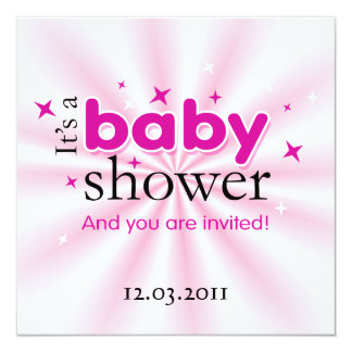 """Modern Text Pink Stars Funny Baby Shower Party 5.25"""" Square Invitation Card"""