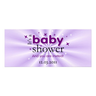 Modern Text Purple Stars Funny Baby Shower Party Invite