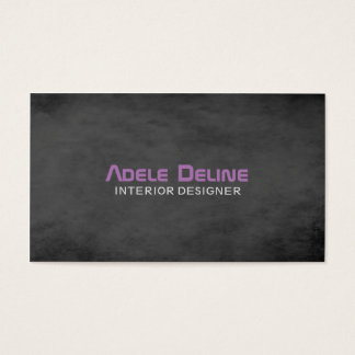 Modern Texture Dark Grey Purple Interior Designer Business Card