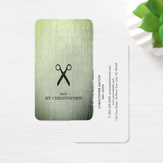 Modern Texture Green Black Scissors Hair Stylist Business Card