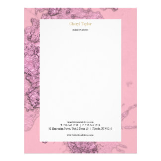 Modern Textured Abstract Pink Chic Personalized Letterhead