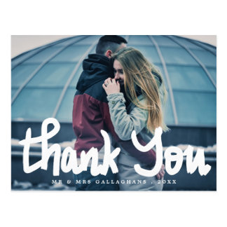 Modern Thank You Bold Handwritten Couple Photo Postcard