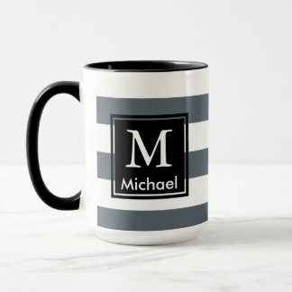 Modern Thick White Stripes Black Square Monogram Mug