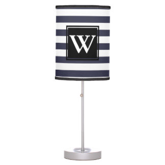 Modern Thick White Stripes - Personalized Table Lamp