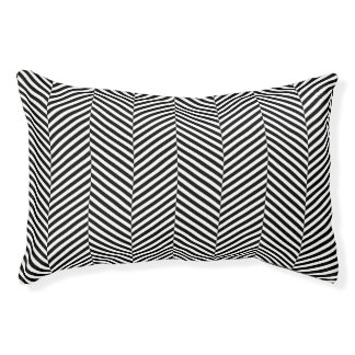 Modern Thin Black White Chevron Stripes Pattern Pet Bed
