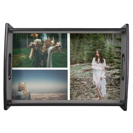 Modern Three Photos Family Holiday Serving Trays
