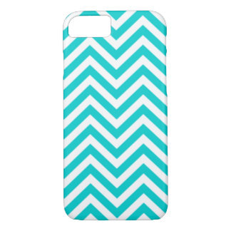 Modern Tiffany Blue Chevron Stripes iPhone 7 Case