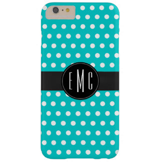 Modern Tiffany Blue Polka Dots Monogram Barely There iPhone 6 Plus Case