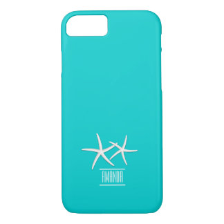 Modern Tiffany Blue Starfish with Custom Name iPhone 7 Case