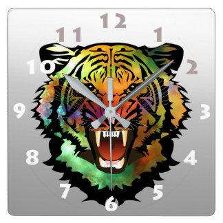 MODERN TIGER ILLUSTRATION SQUARE WALL CLOCK