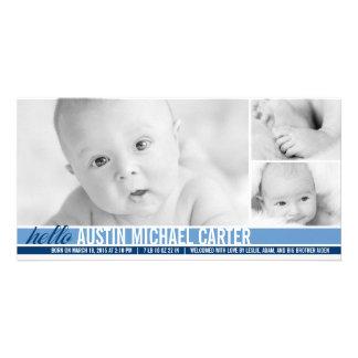 Modern Tones Baby Boy Birth Announcement Photo Card