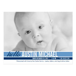 Modern Tones Birth Announcement - Blue Postcard