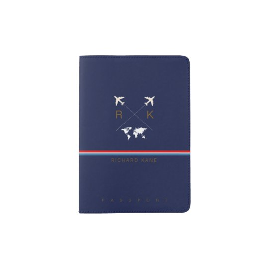modern travel passport cover design monogrammed