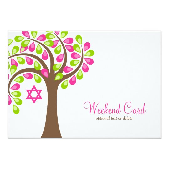 Modern Tree of Life Pink Green Card