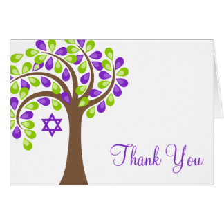 Modern Tree of Life Purple Green Thank You Note Card
