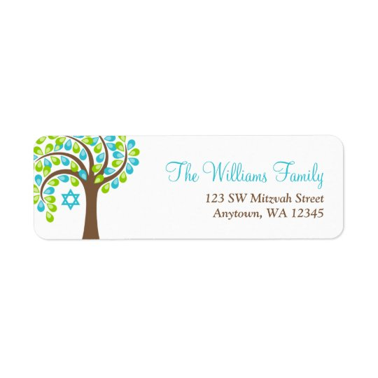 Modern Tree of Life Teal Blue Green Bat Mitzvah