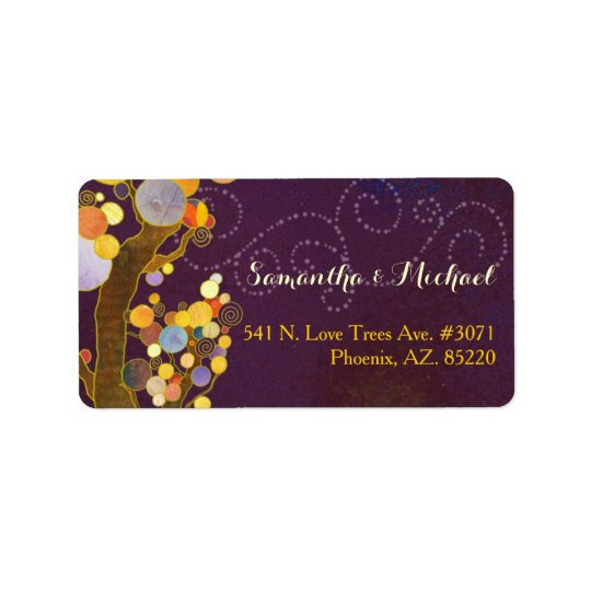 Modern Trees Purple Wedding Label