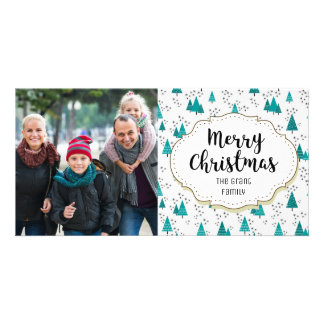 Modern Trees Snow Christmas Picture Photo Card