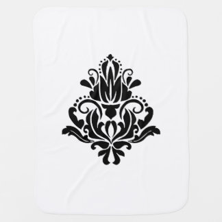 MODERN TREND BLACK AND WHITE DAMASK BABY BLANKETS