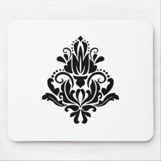 MODERN TREND BLACK AND WHITE DAMASK MOUSE PAD