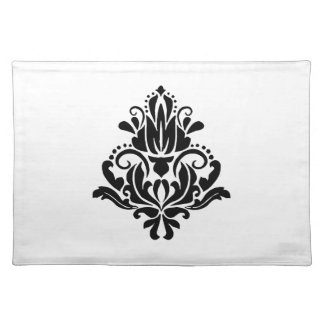 MODERN TREND BLACK AND WHITE DAMASK PLACE MAT