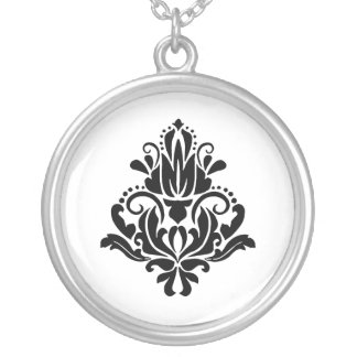 MODERN TREND BLACK AND WHITE DAMASK SILVER PLATED NECKLACE