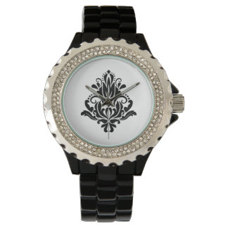 MODERN TREND BLACK AND WHITE DAMASK WATCH
