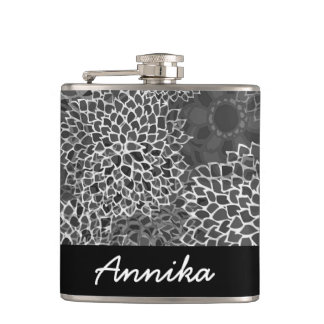 Modern Trends Floral Personalized Hip Flask