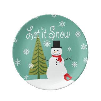 modern trends winter snowman porcelain plates
