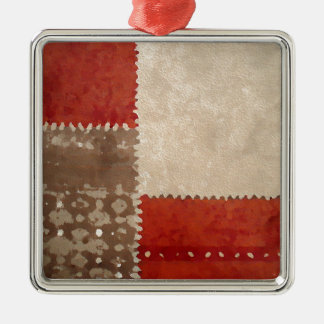 Modern Trendy Abstract Silver-Colored Square Ornament