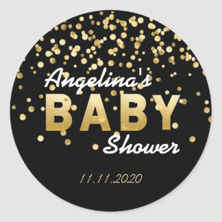 Modern Trendy Black Gold Confetti Baby Shower Classic Round Sticker