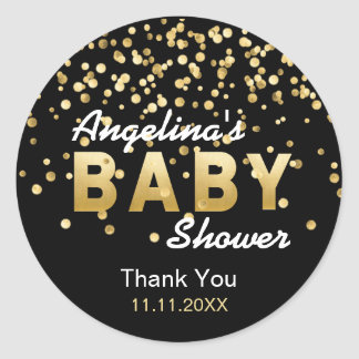 Modern Trendy Black Gold Confetti Baby Shower Classic Round Sticker