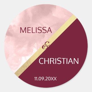 Modern Trendy Blush Pink & Burgundy Gold Wedding Classic Round Sticker