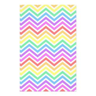 modern, trendy colorful rainbow chevron zigzag custom stationery