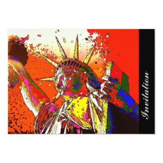 """modern trendy colorful statue of liberty 5"""" x 7"""" invitation card"""