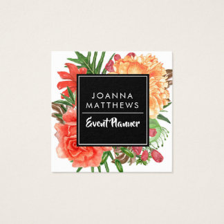 Modern Trendy Coral Floral Square Business Cards