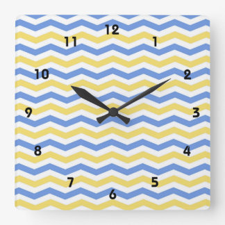 Modern, trendy, elegant blue and yellow chevron square wall clock