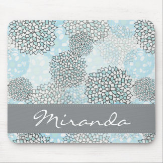 Modern Trendy Floral Pattern Personalized Mouse Pad