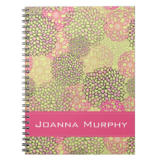 Modern Trendy Floral Pattern Personalized Notebooks