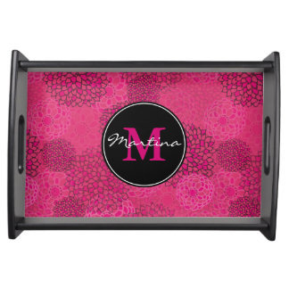 Modern Trendy Floral Pattern Personalized Serving Tray