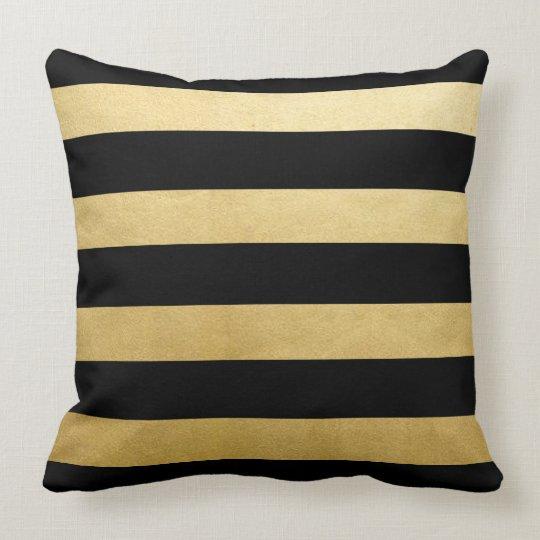 Modern Trendy Gold Black Stripes Throw Throw Pillow